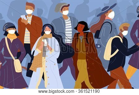 Infected Person Among Healthy People In Face Mask. Man Woman Wearing Protection Medical Respiratory