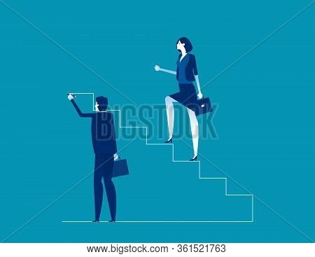 Leader Is Climbing Career Ladder. Concept Business Direction Choice Vector, Human Drawing Stairs