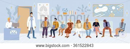 Patients, Disabled Person Sitting In Waiting Room, Expecting Doctor Appointment Time At Emergency Ho