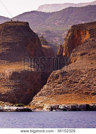 Huge gorge at the south coast of Crete island