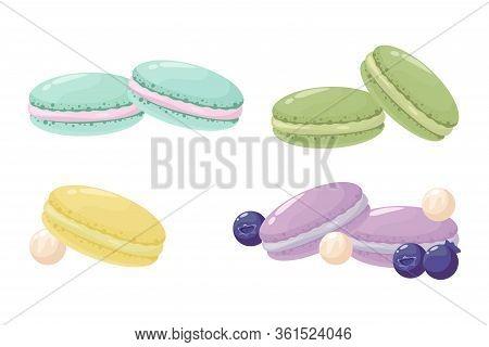 Macaroon Sweets Set, Vector Illustration, Vector Macaroon.