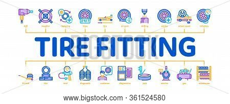 Tire Fitting Service Minimal Infographic Web Banner Vector. Tire Fitting Station Equipment Pump And