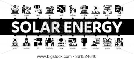 Solar Energy Technicians Minimal Infographic Web Banner Vector. Solar Energy Battery And Panel, Alte