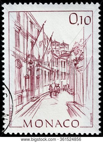 Luga, Russia - April 10, 2020: A Stamp Printed By Monaco Shows View Of  The Town Hall Of Monaco, Cir