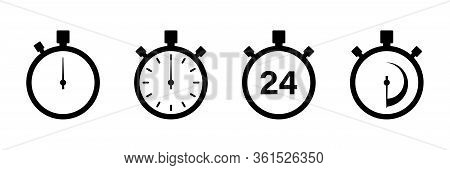 Timers Icon On White Background. Isolated Vector Set Of Elements Time Or Timer. Stopwatch Symbol. Ve