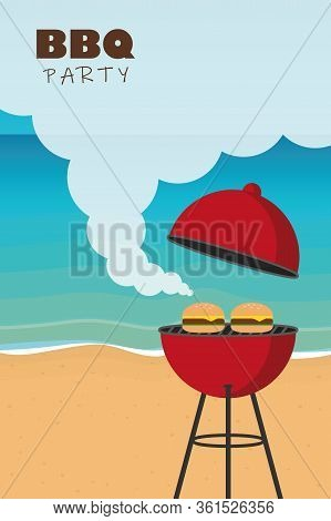 Summer Time Barbeque On The Beach Vector Illustration Eps10