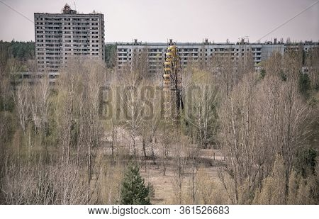 Central Square Of Abandoned Town Pripyat Chernobyl Exclusion Zone Ukraine