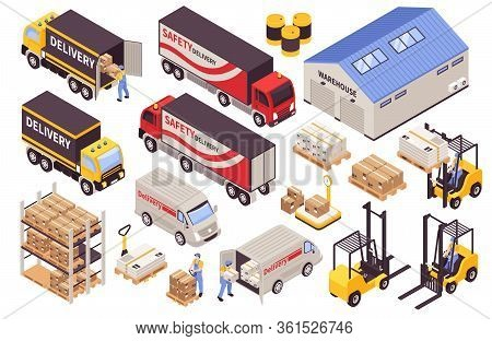 Warehouse Storage Picking Loading Delivery Logistic Services Building Transportation Machinery Forkl