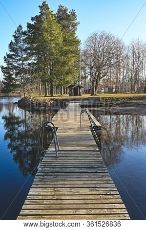 Wooden Jetty At A Bathing Place In Kumla