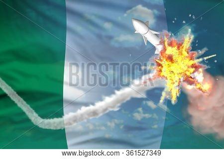 Nigeria Intercepted Supersonic Missile, Modern Antirocket Destroys Enemy Missile Concept, Military I