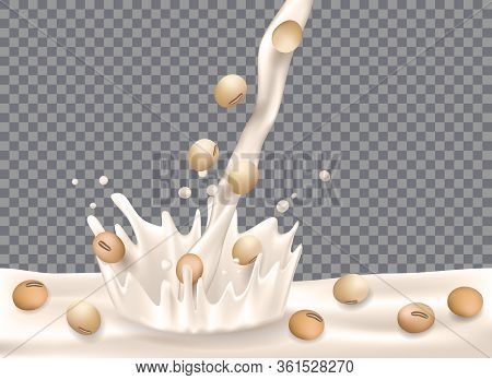 Soy Milk With Splash Isolated On Transparent Background. Soy Beans With Milk Pouring Down For Packag