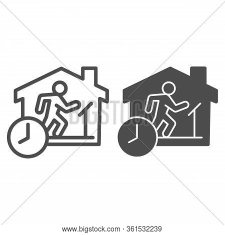 Quarantine Sports At Home Line And Solid Icon. Person Jogging At Treadmill With Clock Outline Style