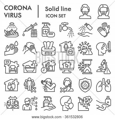 Coronavirus Line Icon Set, Covid-19 Symbols Set Collection Or Vector Sketches. 2019-ncov Prevention