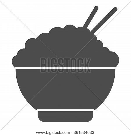 Rice Solid Icon. Chinese Food Rice Illustration Isolated On White. Bowl Of Rice With Chopsticks Symb