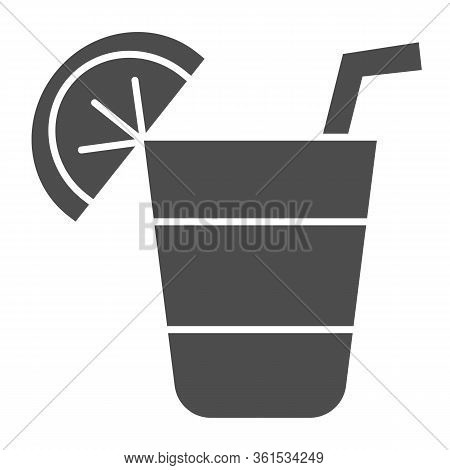 Cocktail Solid Icon. Cocktail Glass With Lemon Slice Illustration Isolated On White. Alcohol Cocktai