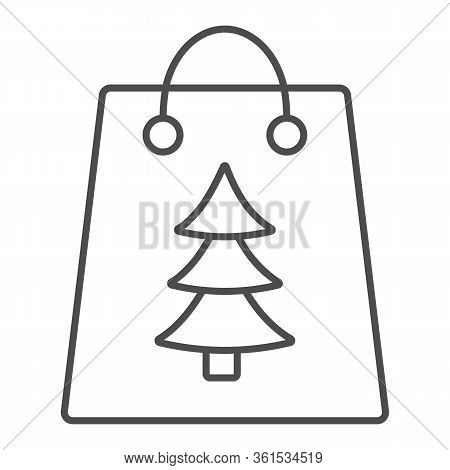 Gift Bag With Tree Sign Thin Line Icon. Christmas Present Package Outline Style Pictogram On White B