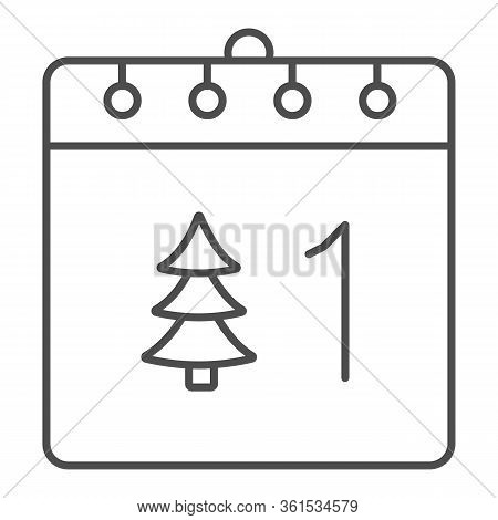 Calendar With Tree Thin Line Icon. Date Page With Firtree And 1st Of January Day Outline Style Picto