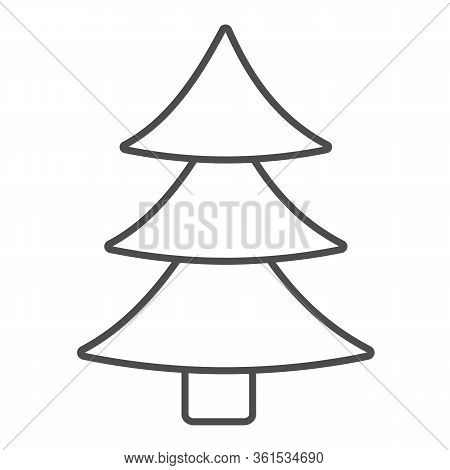 Christmas Tree Thin Line Icon. Decorated Conifer Outline Style Pictogram On White Background. New Ye