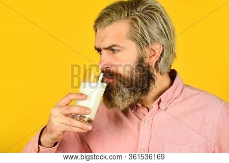 Pasteurized Milk. Emotional Bearded Man Hold Glass Of Milk. Vegan Milk Concept. Vegan Milks Made Fro