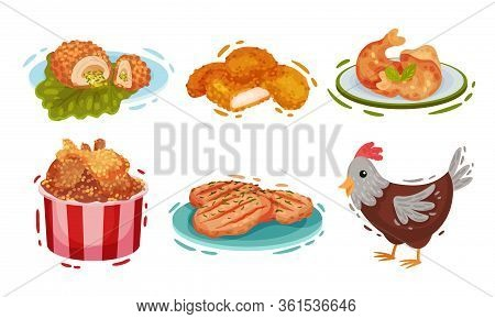 Chicken Food And Snacks With Deep Fried Legs In Basket And Chicken Patty Cakes Vector Set