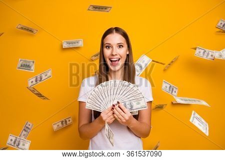 Astonished Crazy Girl Student Hipster Hold Money Fan Enjoy Jackpot She Get Credit Bank Lottery Usd B