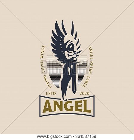 Woman Angel In The Hood And With Wings And A Sword In Her Hands. Angel Of The Apocalypse. Vector Log