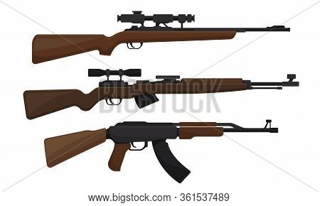 Handguns Or Rifle Models With Firing Trigger For Hunting Vector Set