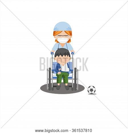 Soccer Ball, Kid, Wheelchair, Disabled, Alone, Health, Girl, Sad, Child, Cartoon, Vector, Illustrati