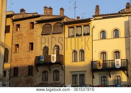 Historic Buildings In Arezzo, Tuscany, Italy: Piazza Grande, The Main Square Of The City