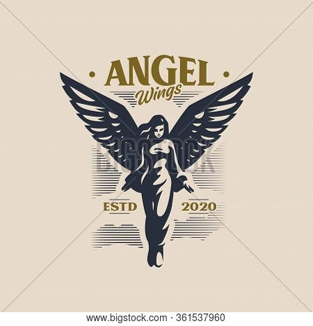 Woman Angel With Wings Takes Off, Spreading Its Wings. Her Hair Fluttering Hair, She Spreads Her Arm
