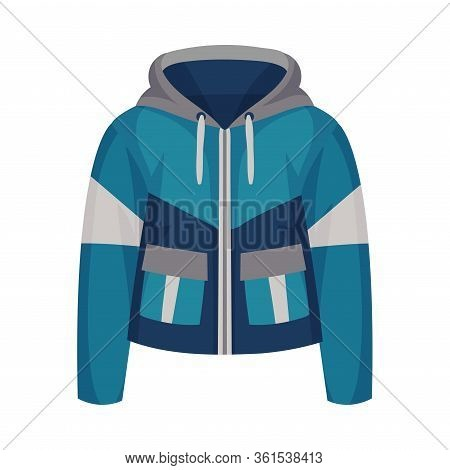 Blue Zippered Anorak With Hood And Side Pockets As Womenswear Vector Illustration