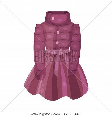 Bright Coat With Collar And Belt As Womenswear Vector Illustration