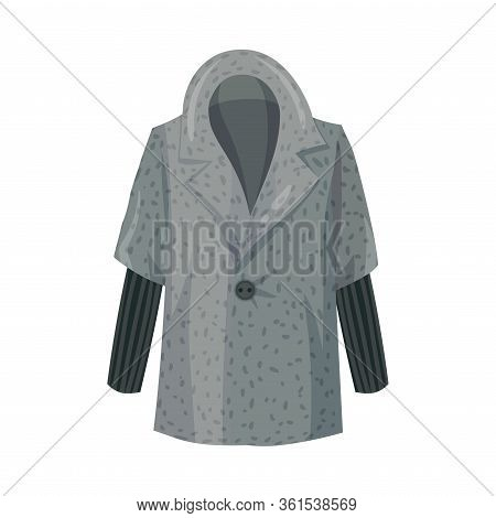 Grey Overcoat With Collar And Long Sleeves As Womenswear Vector Illustration