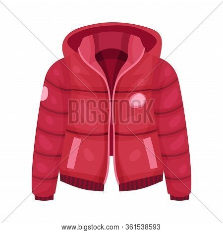 Red Zippered Anorak With Hood And Side Pockets As Womenswear Vector Illustration