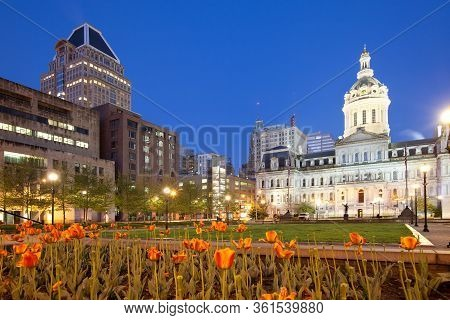Baltimore City Hall  And War Memorial Plaza At Dawn, Baltimore, Maryland, United States