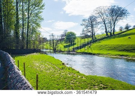 Bela River Running Through Dallam Park Milnthorpe Uk