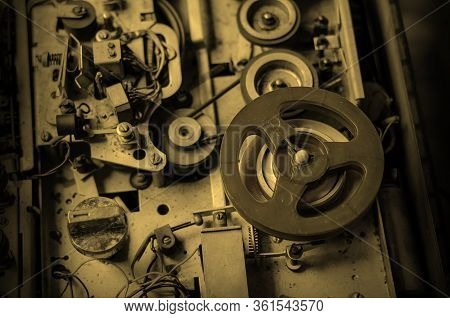 Old Reel Tape Recorder. Detailed View Of The Internal Structure Of An Analog Tape Recorder. Dusty Au