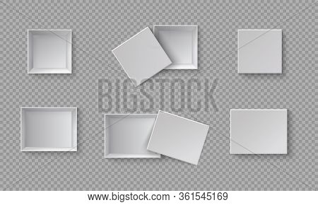 White Blank Packaging Gift Boxes. A Set Of Open And Closed Boxes At Different Angles. White Object O