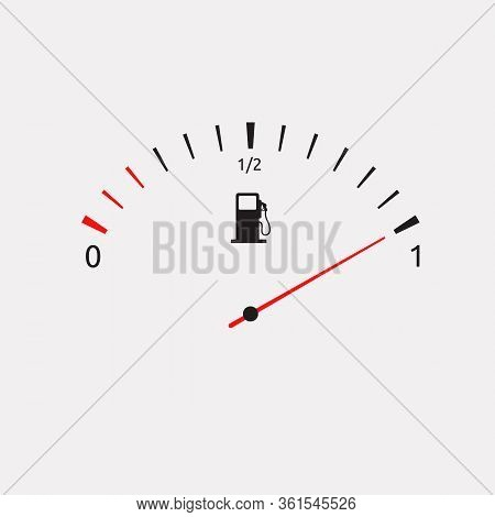 White Fuel Gauge Isolated In White Background. Fuel Indicators Gas Meter. Gauge Vector Tank Full Ico