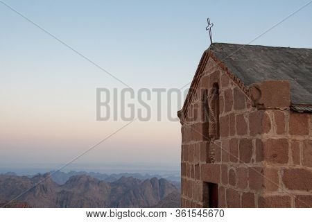 Greek Orthodox Chapel At The Summit Of Mt Sinai In Egypt. Free Space