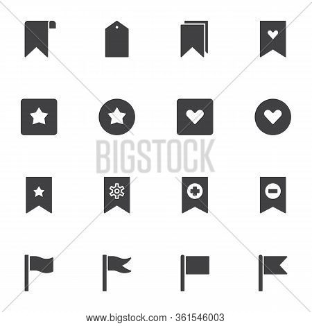 Bookmark And Tags Vector Icons Set, Modern Solid Symbol Collection, Filled Style Pictogram Pack. Sig