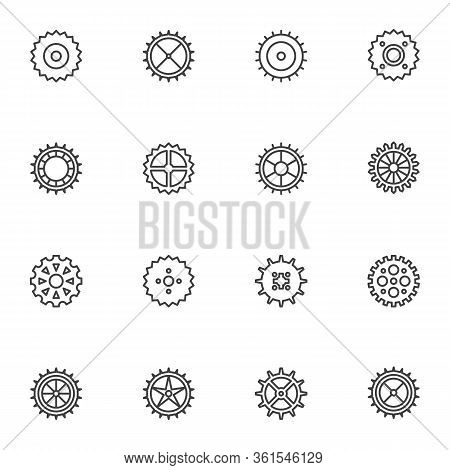 Circle Gears Line Icons Set. Linear Style Symbols Collection, Outline Signs Pack. Cogwheels Vector G