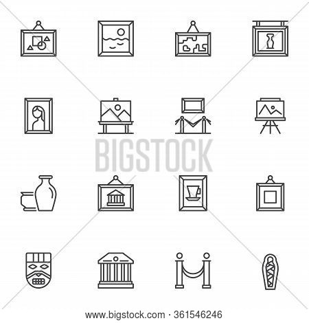 Museum Exhibits Line Icons Set. Art Gallery Linear Style Symbols Collection, Outline Signs Pack. Vec