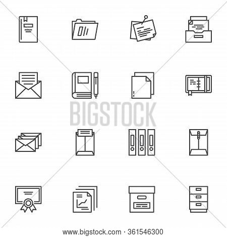Office Document Line Icons Set. Linear Style Symbols Collection, Outline Signs Pack. Vector Graphics