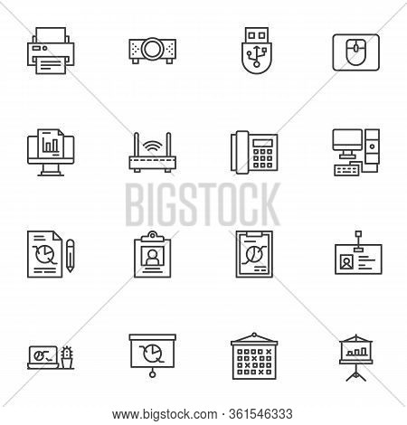 Office Tools Line Icons Set. Linear Style Symbols Collection, Outline Signs Pack. Vector Graphics. S