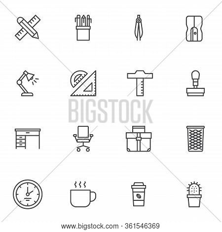 Office Supplies Line Icons Set. Linear Style Symbols Collection, Outline Signs Pack. Vector Graphics