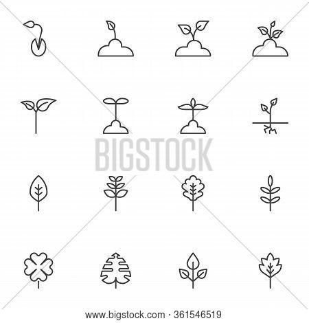 Plants Seedling Line Icons Set. Linear Style Symbols Collection, Outline Signs Pack. Farming And Gar