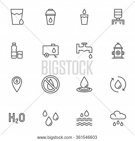 Water Line Icons Set. Linear Style Symbols Collection, Outline Signs Pack. Vector Graphics. Set Incl