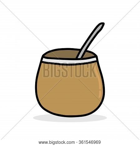 Calabash Brown With Mate Drink Hand Drawn Vector Illustration In Cartoon Comic Style Icon Logo