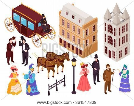 Victorian Era English Fashion Architecture Elements Isometric Set With Town City Houses Lanterns Car